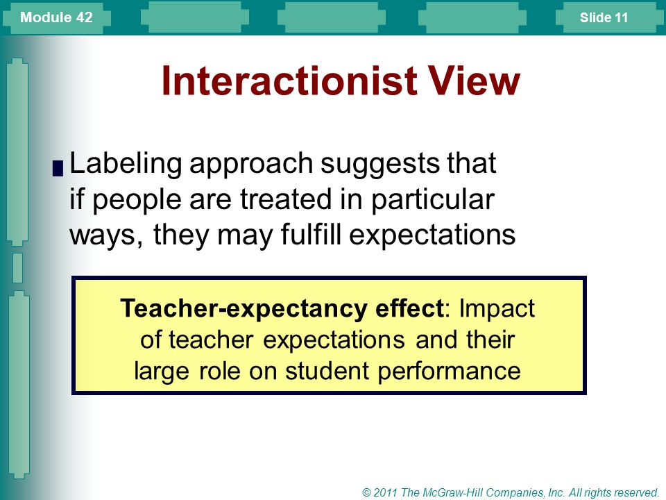 Module 42 Interactionist View. Labeling approach suggests that if people are treated in particular ways, they may fulfill expectations.