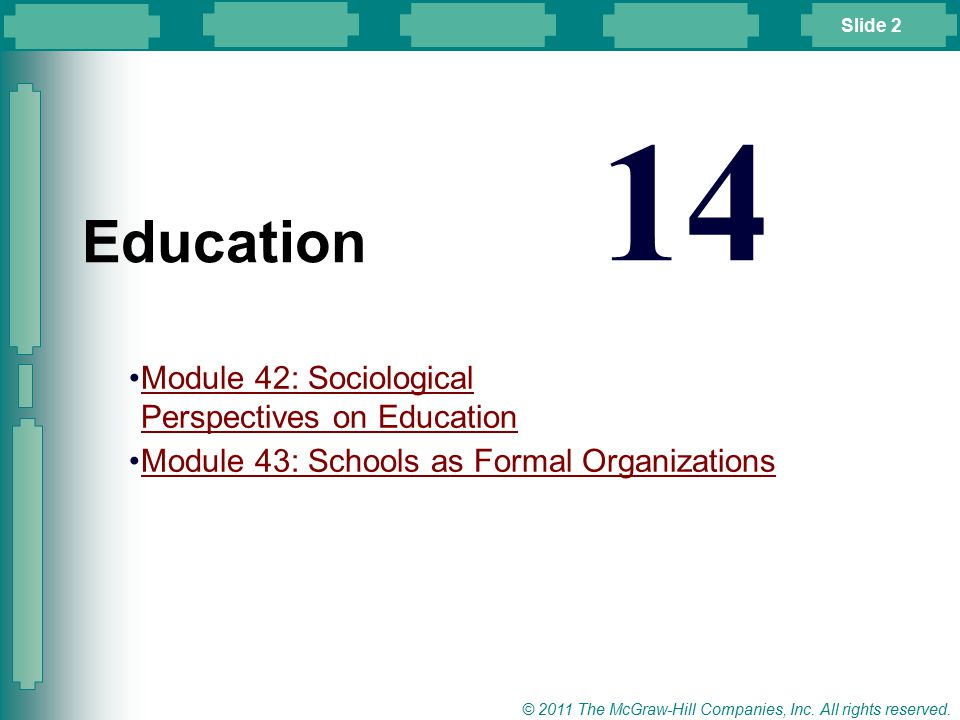 14 Education Module 42: Sociological Perspectives on Education