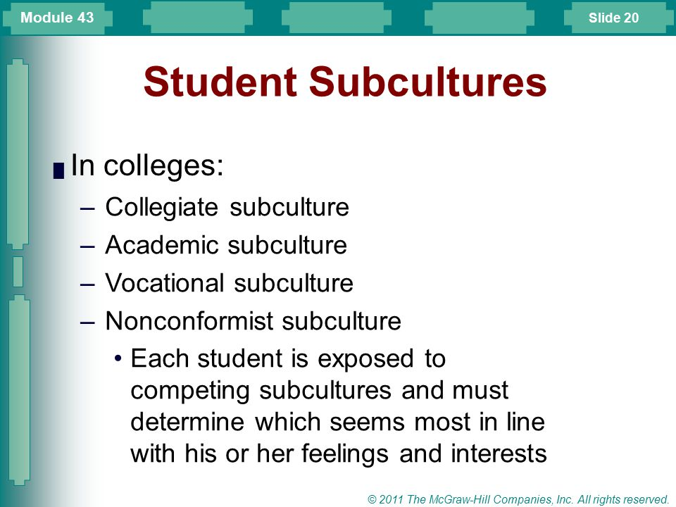 Student Subcultures In colleges: Collegiate subculture