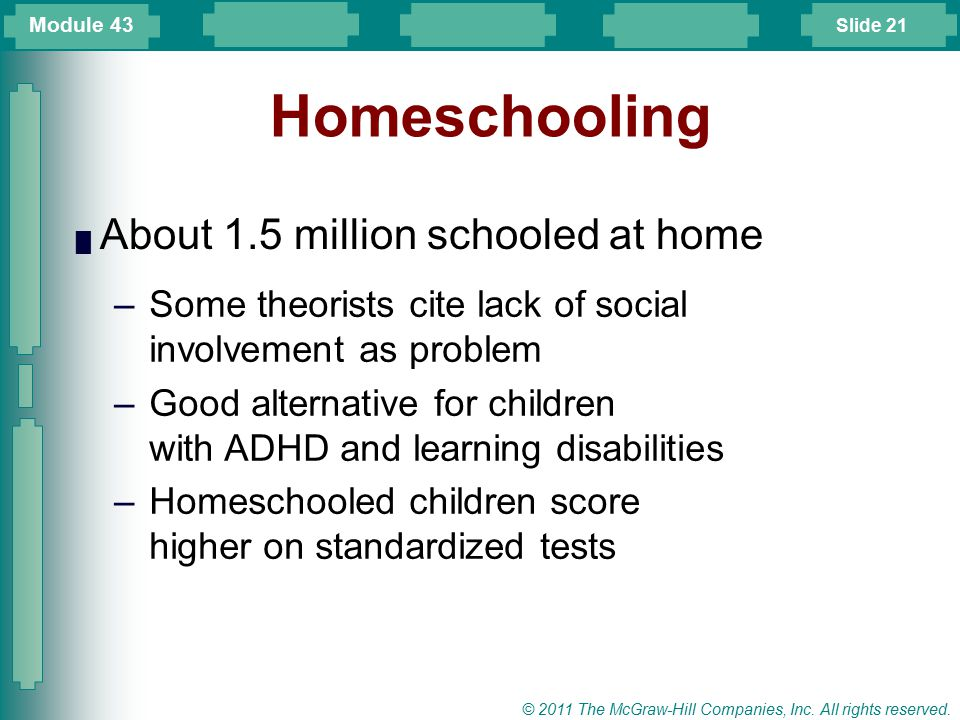 Homeschooling About 1.5 million schooled at home