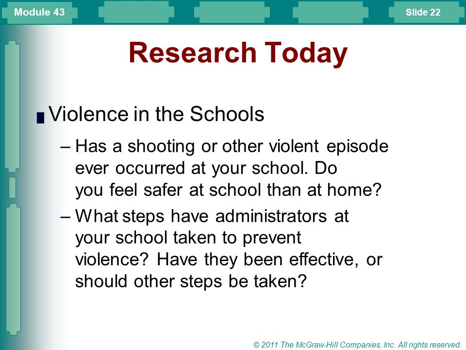 Research Today Violence in the Schools