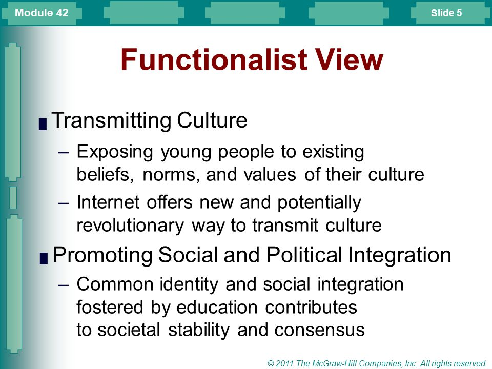 Functionalist View Transmitting Culture