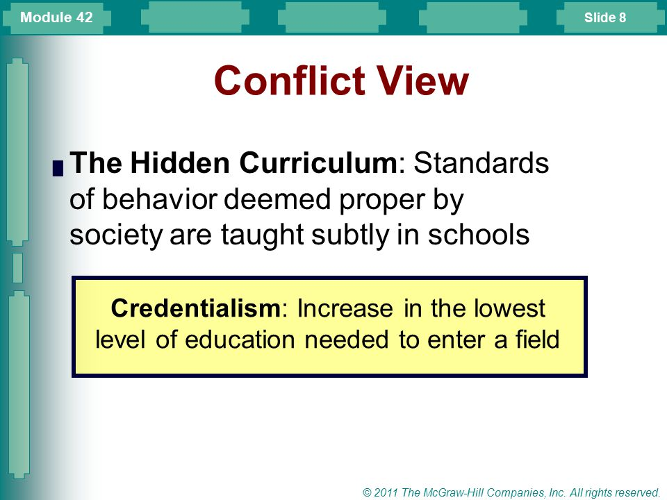 Module 42 Conflict View. The Hidden Curriculum: Standards of behavior deemed proper by society are taught subtly in schools.