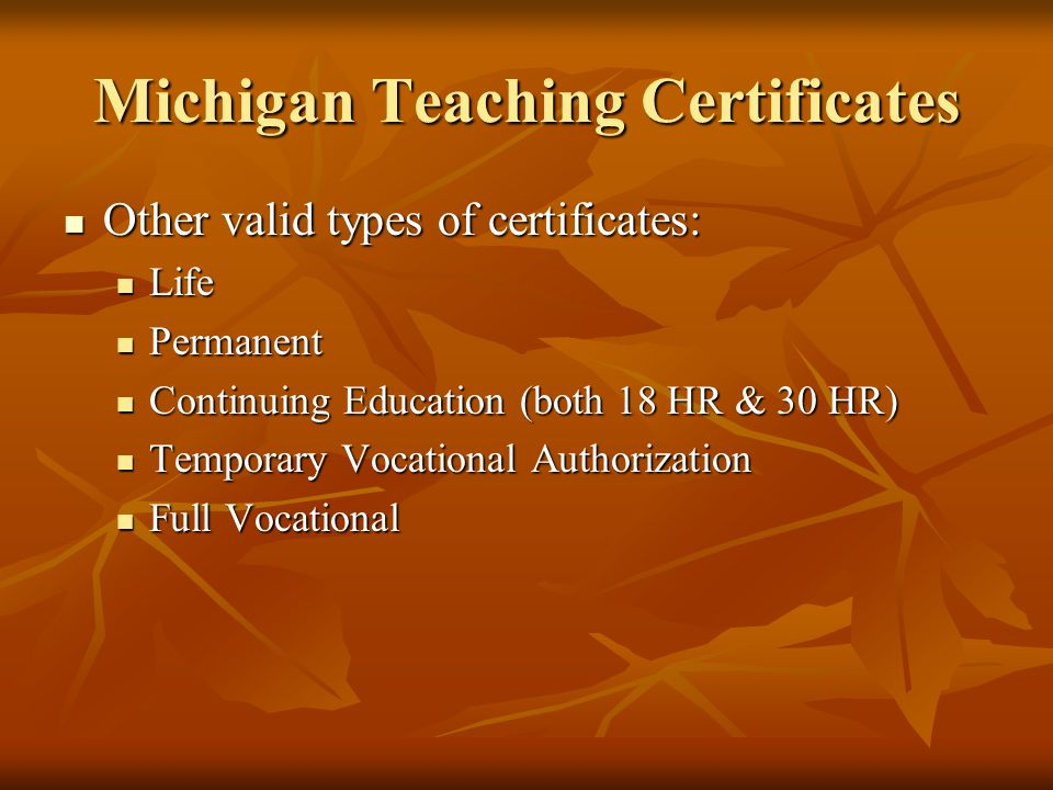 Michigan Teaching Certificates