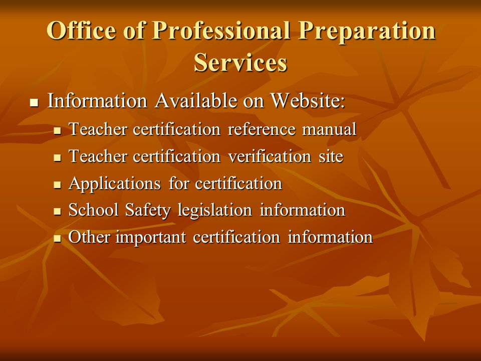 Office of Professional Preparation Services