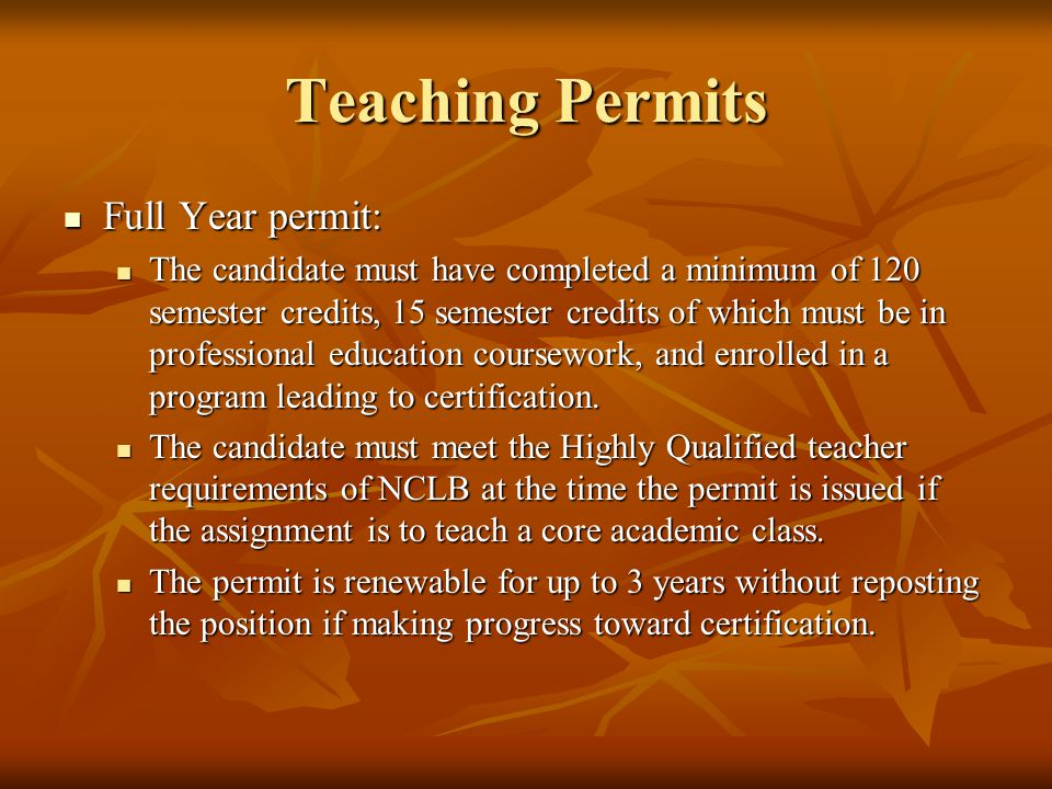 Teaching Permits Full Year permit: