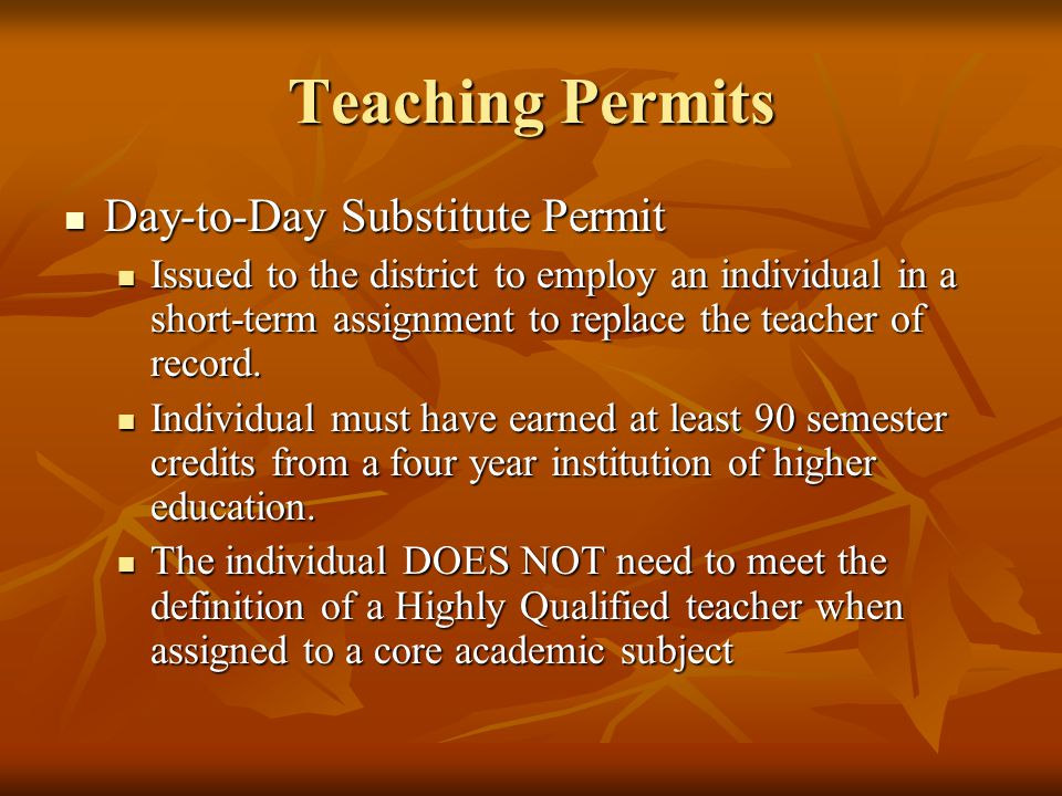Teaching Permits Day-to-Day Substitute Permit