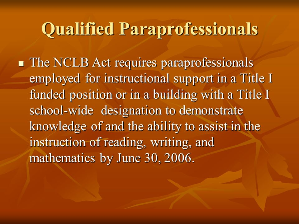 Qualified Paraprofessionals