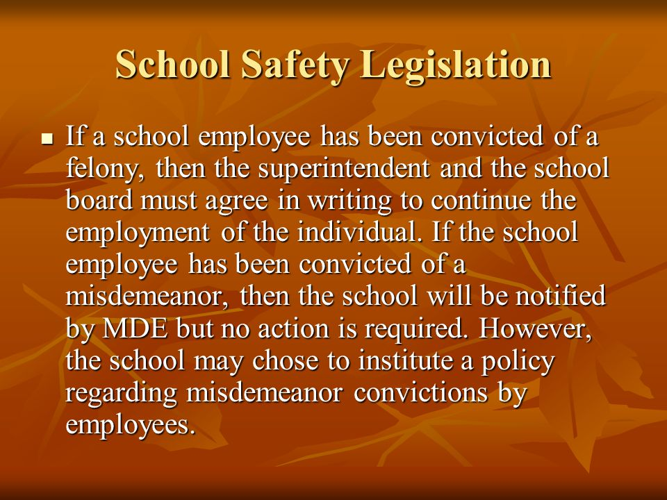 School Safety Legislation