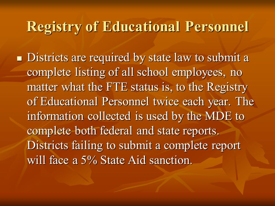 Registry of Educational Personnel