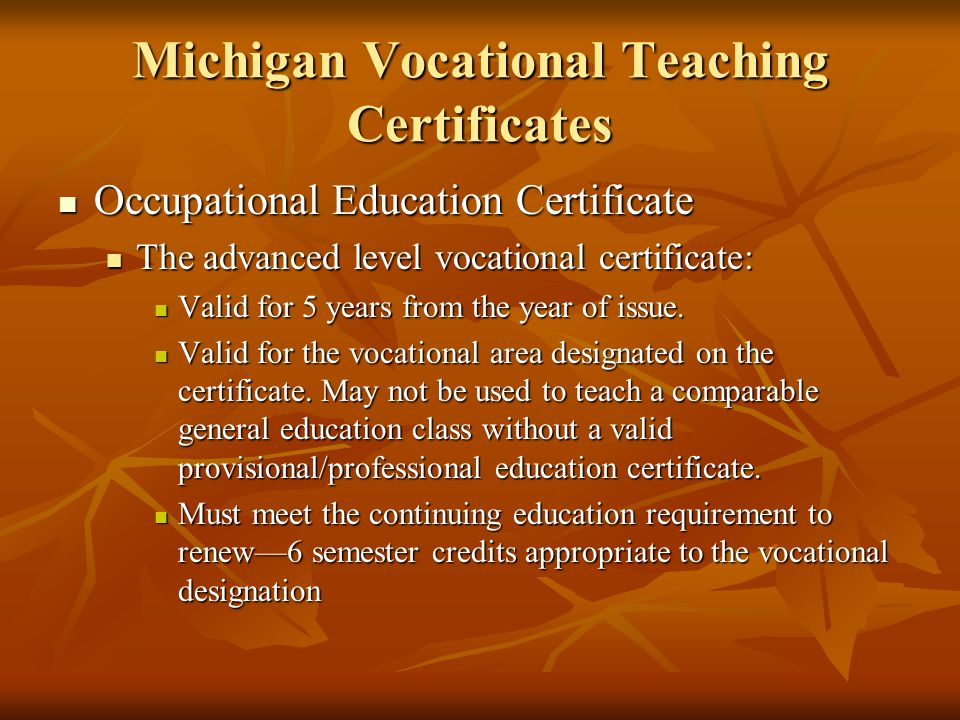 Michigan Vocational Teaching Certificates