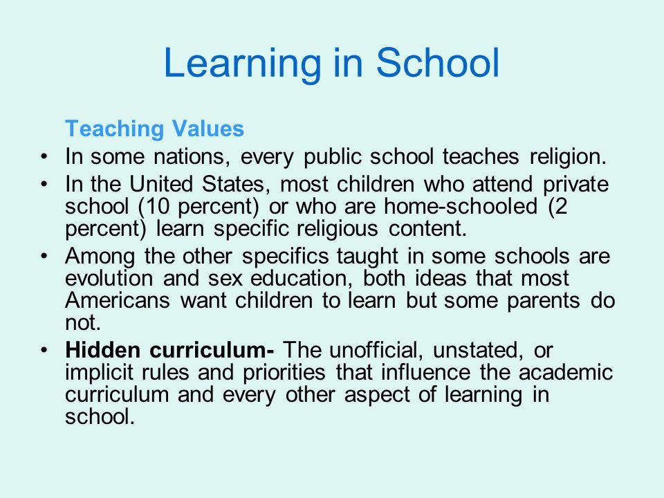 Learning in School Teaching Values