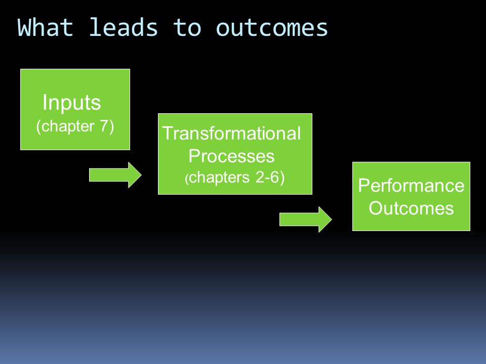 What leads to outcomes Inputs Transformational Processes Performance