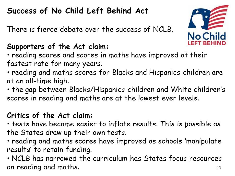 Success of No Child Left Behind Act