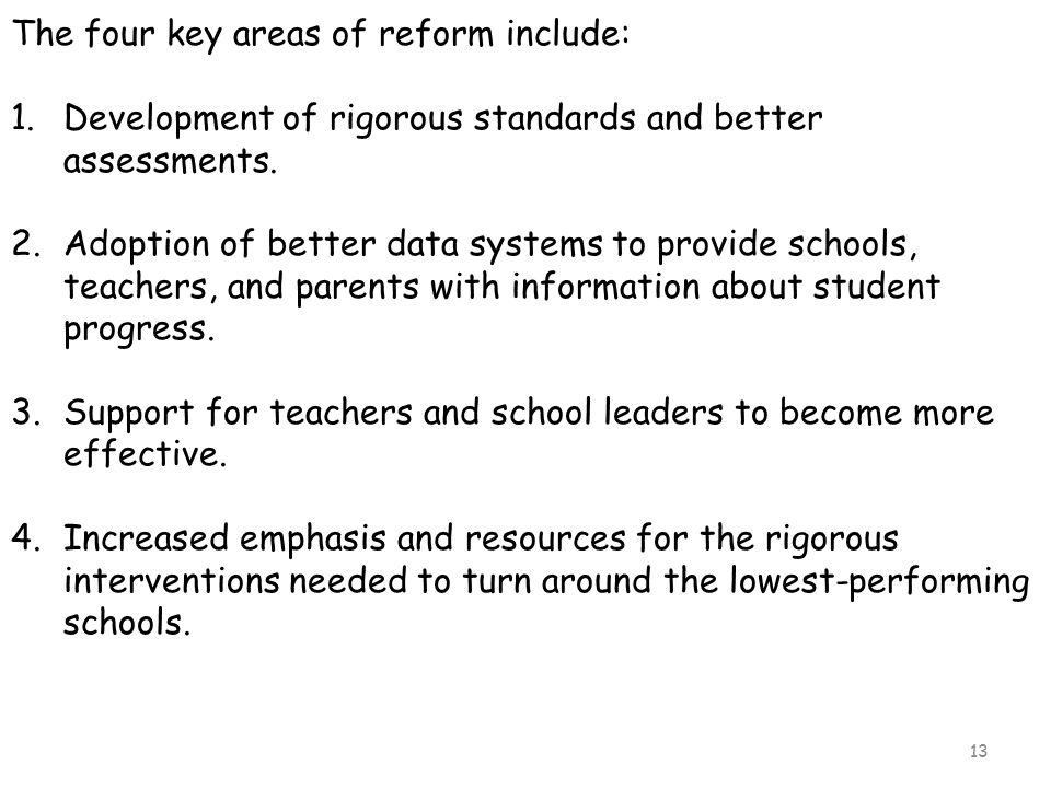 The four key areas of reform include:
