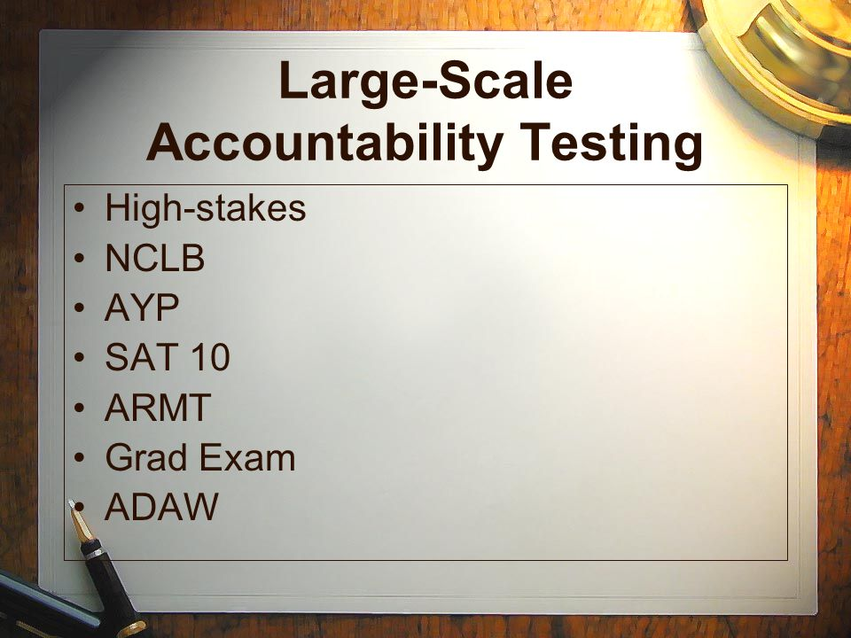 Large-Scale Accountability Testing