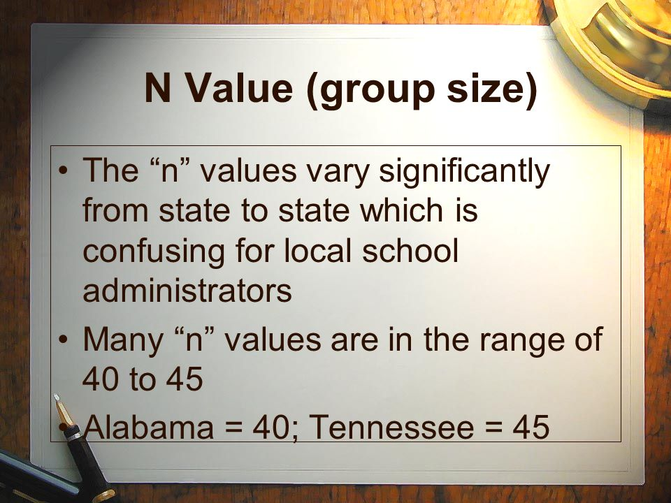 N Value (group size) The n values vary significantly from state to state which is confusing for local school administrators.