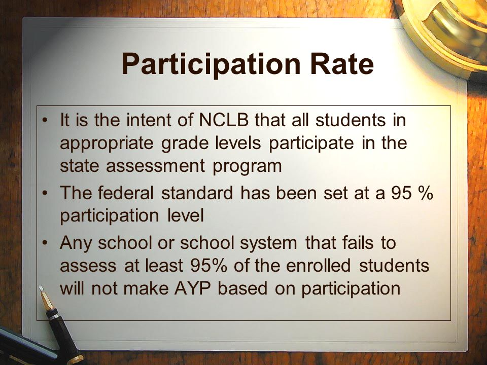 Participation Rate It is the intent of NCLB that all students in appropriate grade levels participate in the state assessment program.