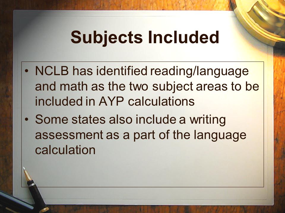 Subjects Included NCLB has identified reading/language and math as the two subject areas to be included in AYP calculations.