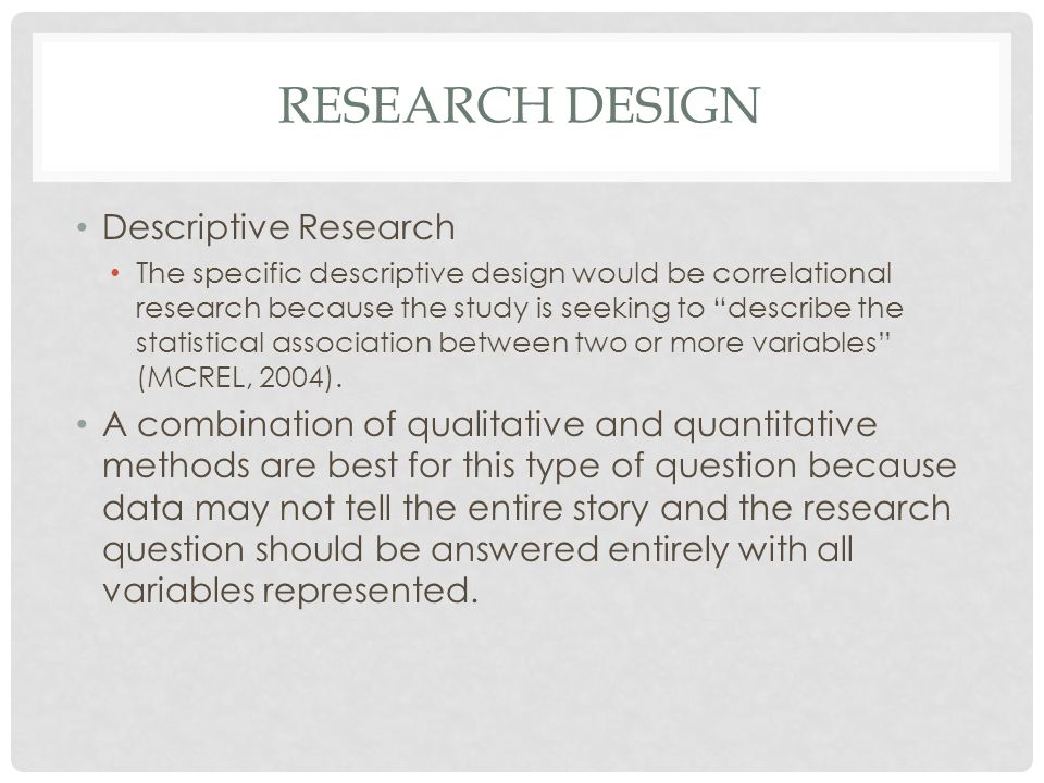 Research design Descriptive Research