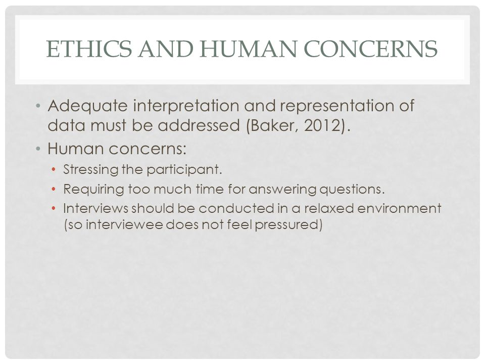 Ethics and human concerns