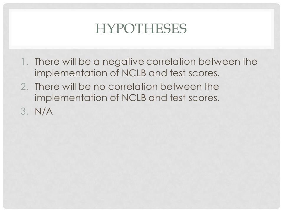 hypotheses There will be a negative correlation between the implementation of NCLB and test scores.