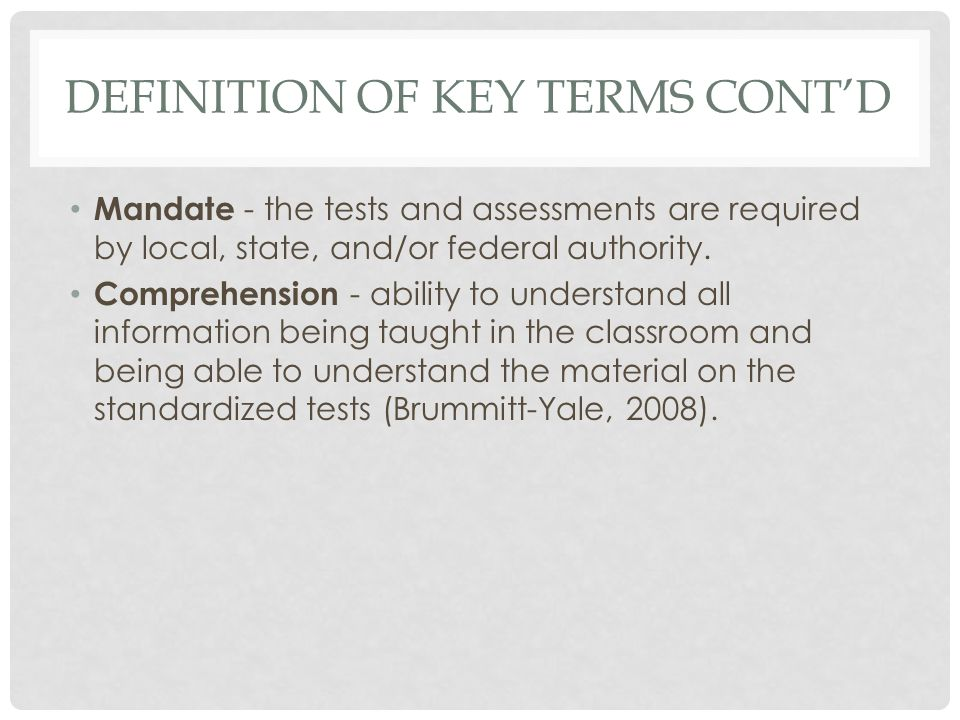 Definition of key terms cont'd