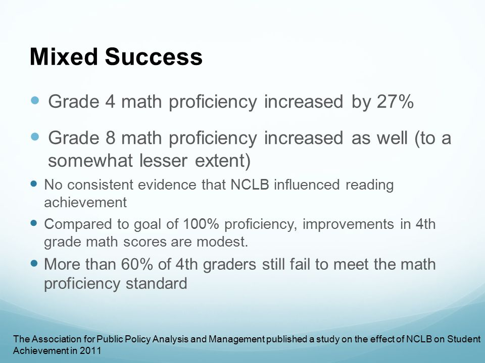 Mixed Success Grade 4 math proficiency increased by 27%