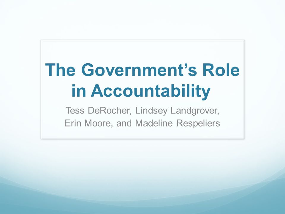 The Government's Role in Accountability