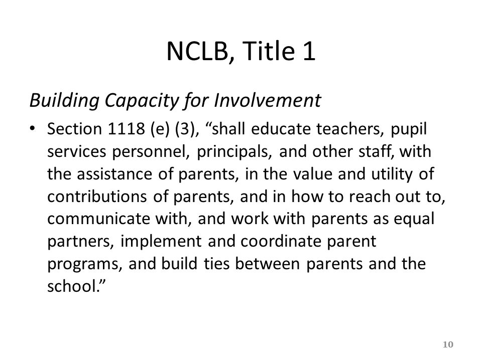 NCLB, Title 1 Building Capacity for Involvement