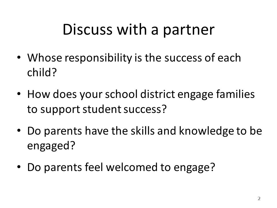 Discuss with a partner Whose responsibility is the success of each child