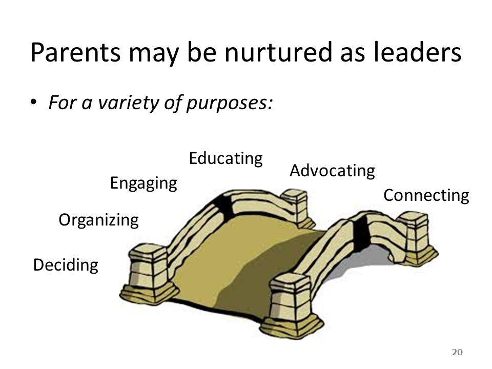 Parents may be nurtured as leaders