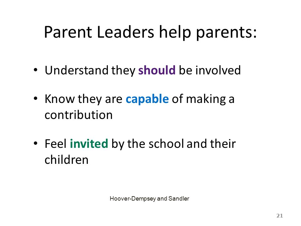 Parent Leaders help parents:
