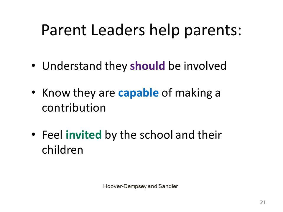 Parent Leaders help parents: