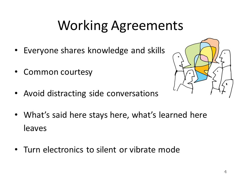 Working Agreements Everyone shares knowledge and skills
