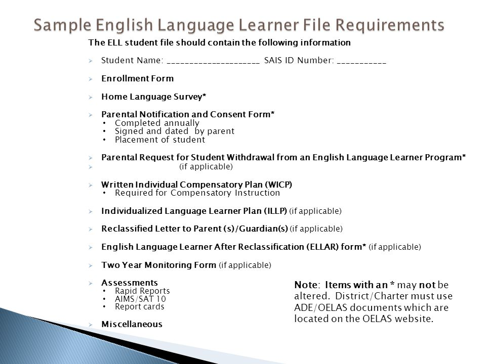 Sample English Language Learner File Requirements