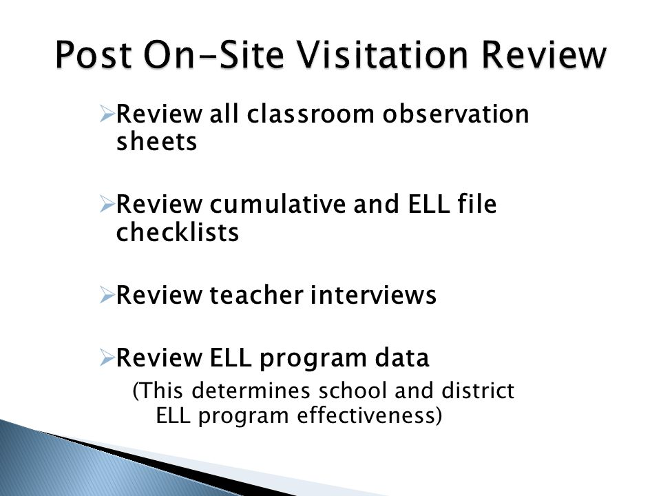 Post On-Site Visitation Review