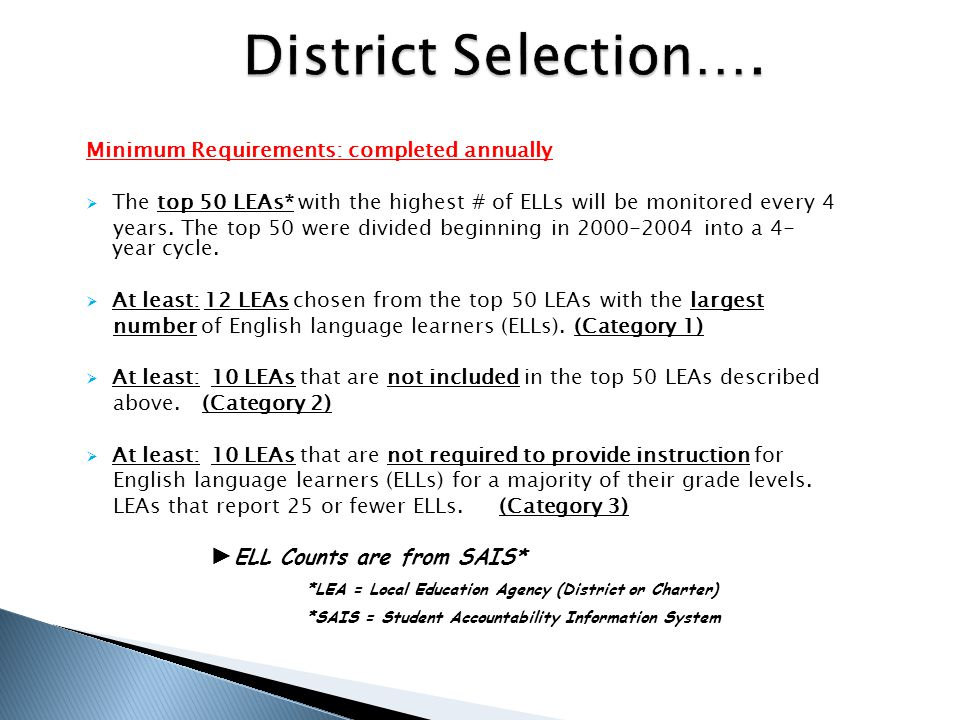 District Selection…. A.R.S. 15-756.08 (HB 2064) (effective 9/21/06) Minimum Requirements: completed annually.