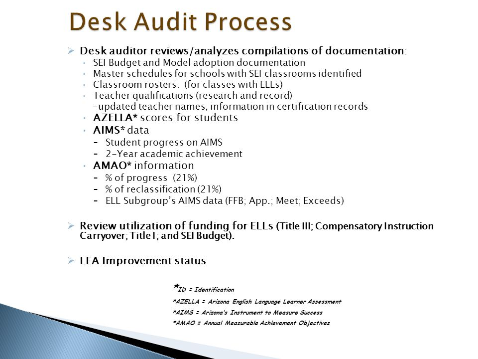 Desk Audit Process Desk auditor reviews/analyzes compilations of documentation: SEI Budget and Model adoption documentation.