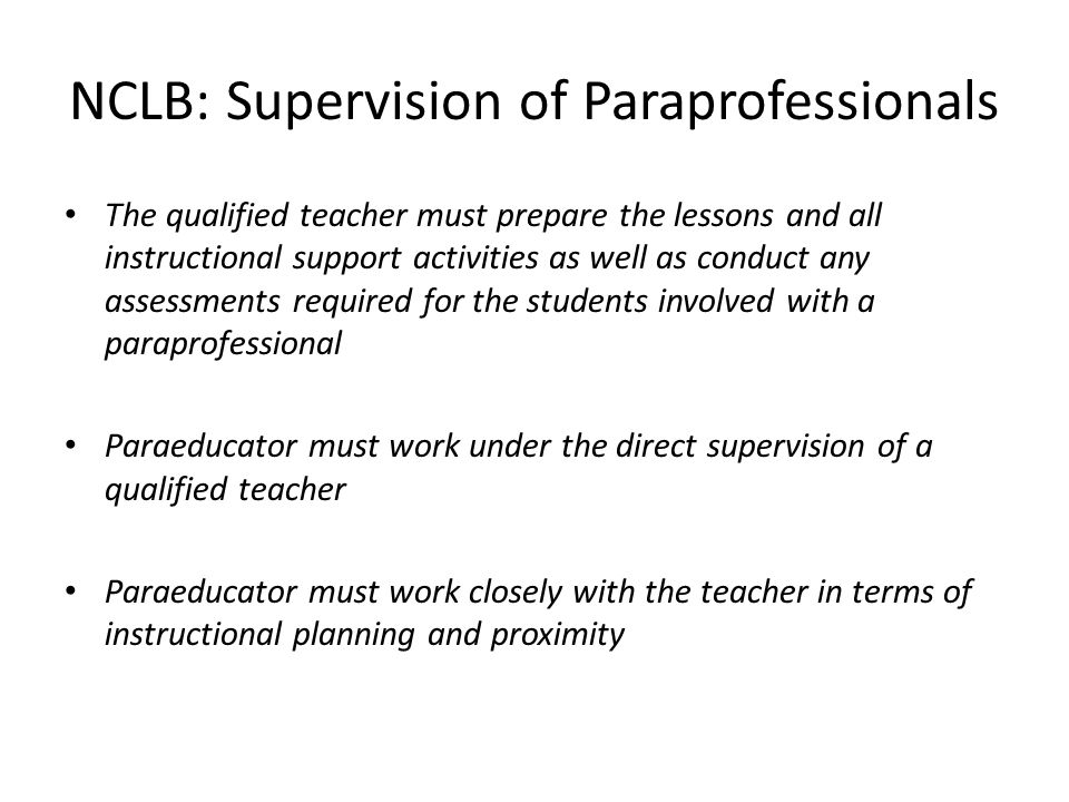 NCLB: Supervision of Paraprofessionals