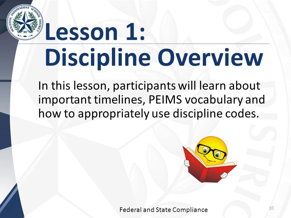 Lesson 1: Discipline Overview