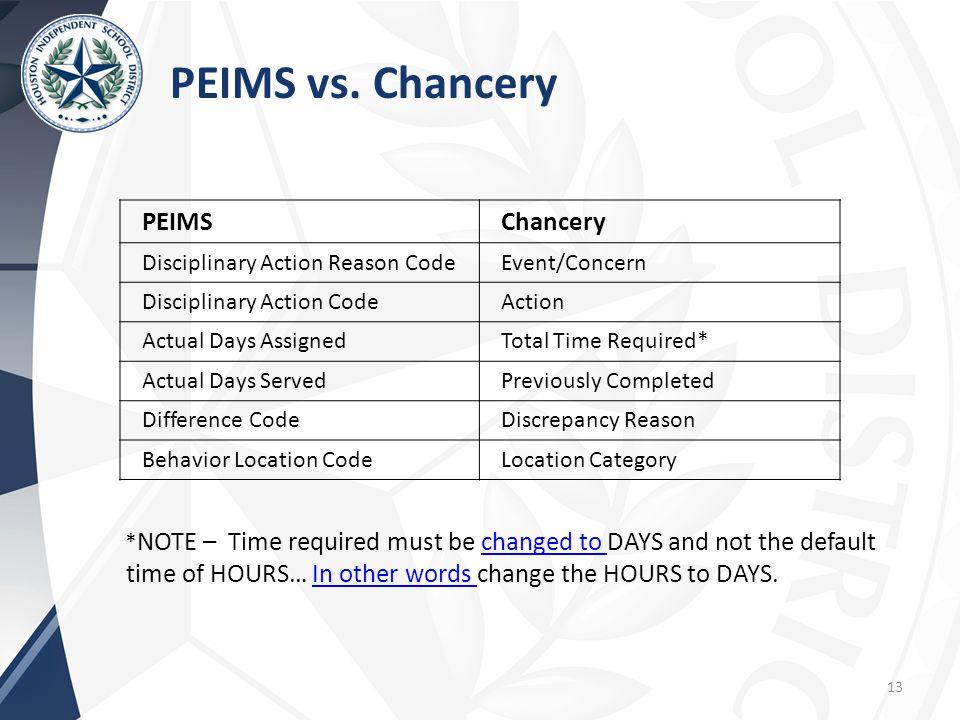 PEIMS vs. Chancery PEIMS Chancery Disciplinary Action Reason Code