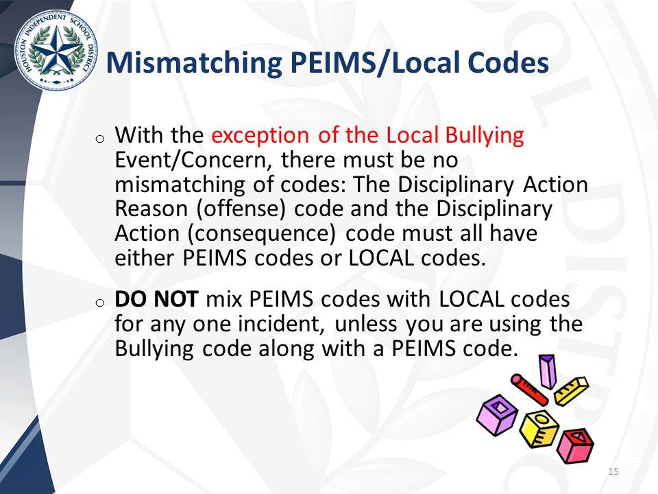 Mismatching PEIMS/Local Codes