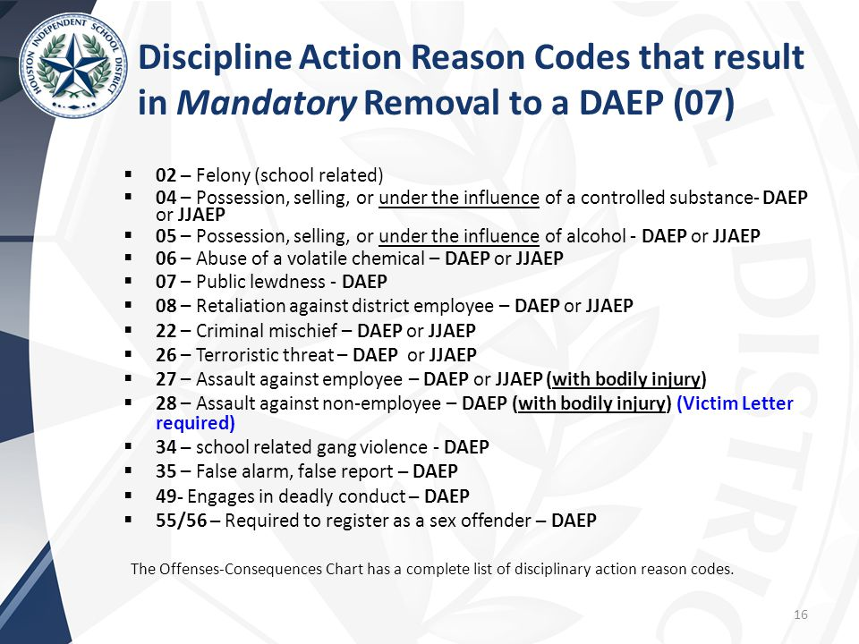 Discipline Action Reason Codes that result in Mandatory Removal to a DAEP (07)