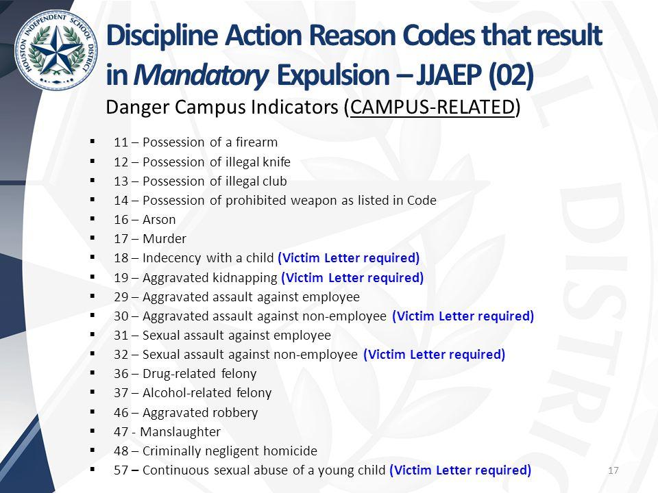 Discipline Action Reason Codes that result in Mandatory Expulsion – JJAEP (02)