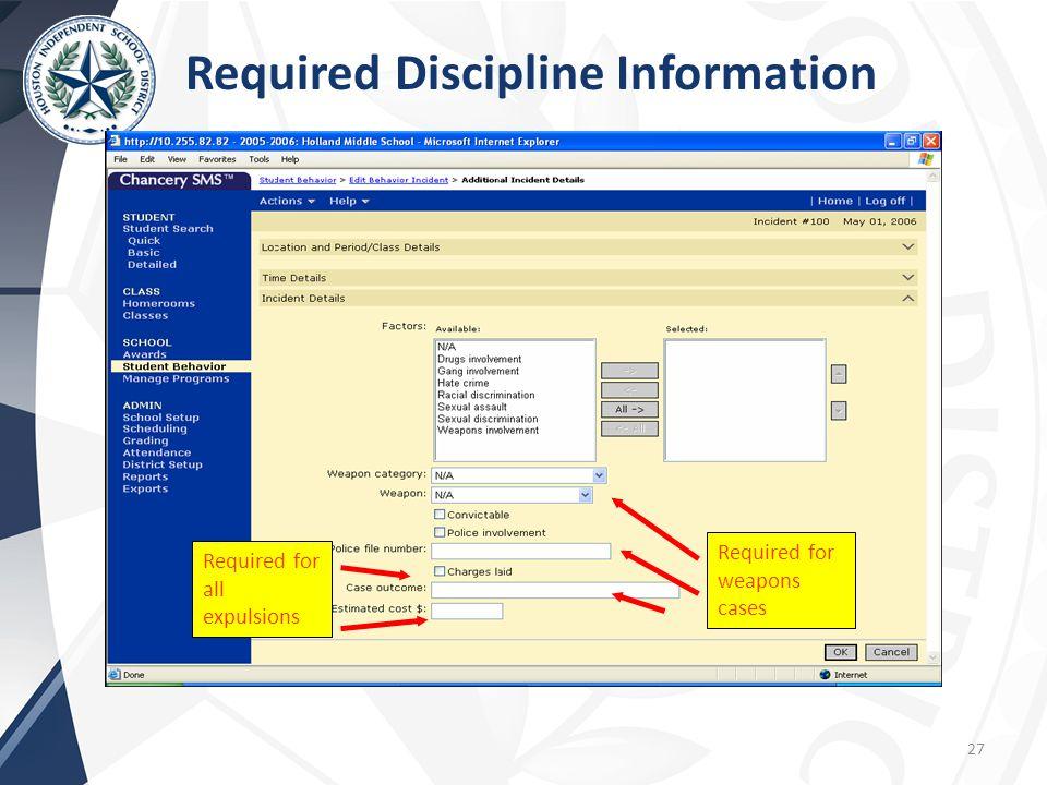 Required Discipline Information