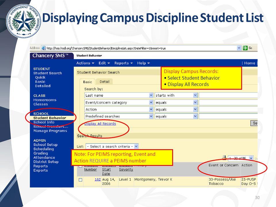 Displaying Campus Discipline Student List