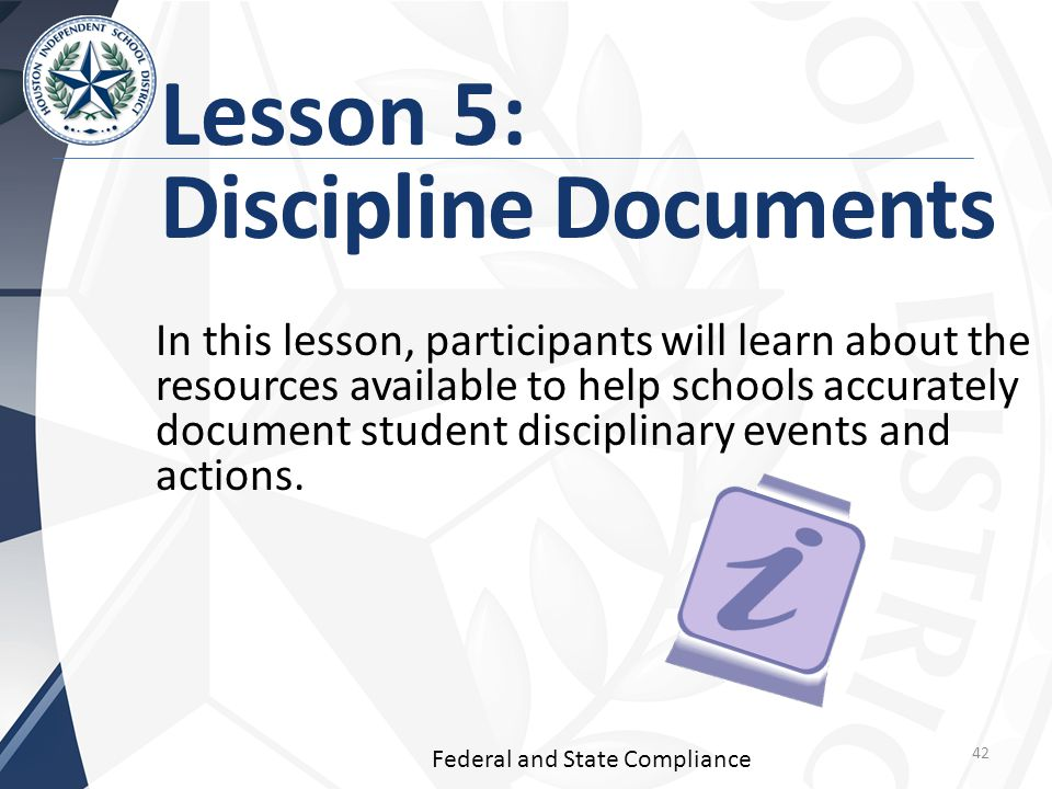 Lesson 5: Discipline Documents