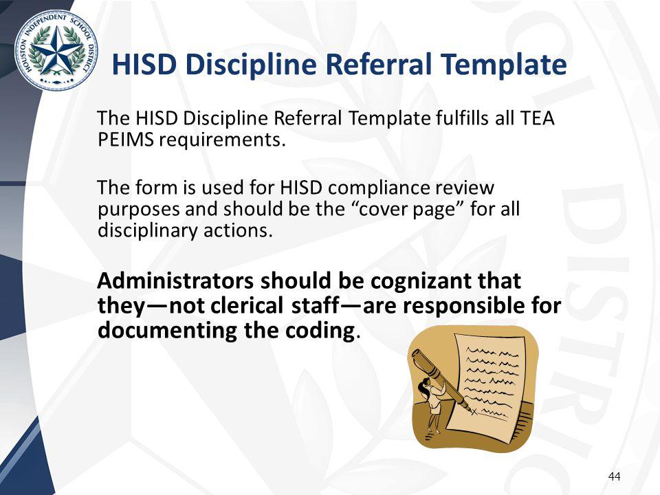 HISD Discipline Referral Template