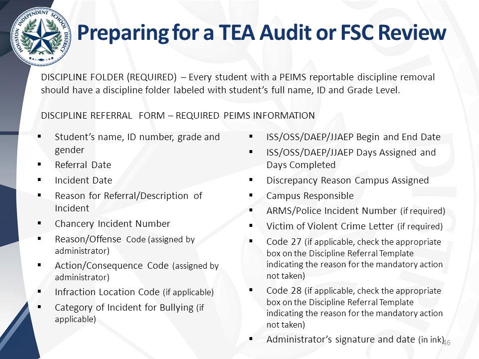 Preparing for a TEA Audit or FSC Review